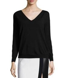 Ralph Lauren「Ralph Lauren Long-Sleeve Tissue Sweater, Black(Knitwear)」