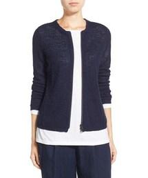 Eileen Fisher「Eileen Fisher Organic Linen & Cotton Crewneck Cardigan (Regular & Petite)(Knitwear)」