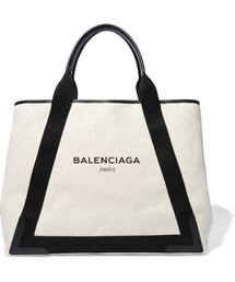 Balenciaga「Balenciaga Cabas Leather-Trimmed Canvas Tote(Tote)」