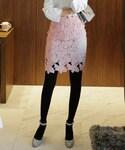 DHOLIC | クロシェットレースパターンタイトミニスカート(スカート)