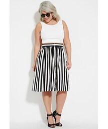 Forever 21「FOREVER 21+ Plus Size Buttoned Stripe-Print Skirt(Skirt)」