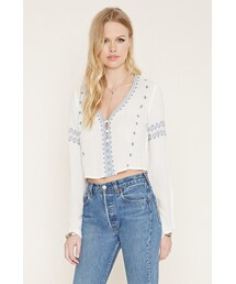 Forever 21「FOREVER 21 button-front embroidered top(Shirts)」