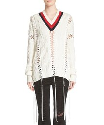 Alexander Wang「Alexander Wang 'Cricket' Lace-Up Cable Knit Cotton Sweater(Knitwear)」
