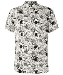 Topman「Off White and Black Sun Print Viscose Short Sleeve Casual Shirt(Shirts)」