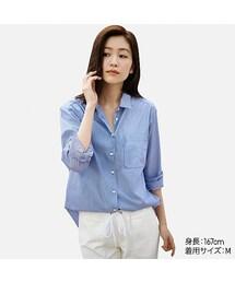 ユニクロ(ユニクロ)の「WOMEN エクストラファインコットンオーバーサイズストライプシャツ(長袖)(シャツ・ブラウス)」