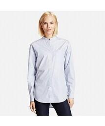 ユニクロ(ユニクロ)の「WOMEN エクストラファインコットンオーバーサイズスタンドシャツ(長袖)(シャツ・ブラウス)」