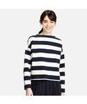 ユニクロ | WOMEN ボーダーモックネックT(9分袖)(Tシャツ・カットソー)