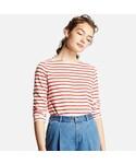 ユニクロ「WOMEN ボーダーボートネックT(長袖)(T Shirts)」
