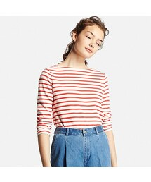 ユニクロ(ユニクロ)の「WOMEN ボーダーボートネックT(長袖)(Tシャツ・カットソー)」