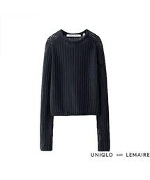 ユニクロ(ユニクロ)の「WOMEN スーピマコットンメッシュクルーネックセーター(長袖)+E(ニット・セーター)」