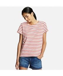 ユニクロ(ユニクロ)の「WOMEN スラブボーダーT(半袖)(Tシャツ・カットソー)」
