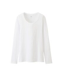 ユニクロ(ユニクロ)の「WOMEN スーピマコットンモダールクルーネックT(長袖)(Tシャツ・カットソー)」