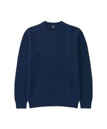 ユニクロ(ユニクロ)の「MEN ヒートテックケーブルクルーネックセーター(長袖)(ニット・セーター)」