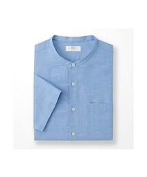 ユニクロ(ユニクロ)の「MEN リネンコットンスタンドカラーシャツ(半袖)(シャツ・ブラウス)」