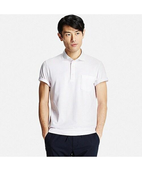 ユニクロ(ユニクロ)の「MEN ドライシャツカラーポロシャツ(セミワイド・ストライプ・半袖)(ポロシャツ)」 , WEAR