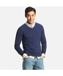 ユニクロ(ユニクロ)の「MEN コットンカシミヤVネックセーター(長袖)(ニット・セーター)」
