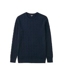 ユニクロ(ユニクロ)の「MEN コットンカシミヤケーブルクルーネックセーター(長袖)(ニット・セーター)」