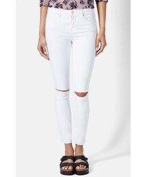 Topshop「Topshop Moto 'Leigh' Ripped Ankle Skinny Jeans (White)(Denim pants)」
