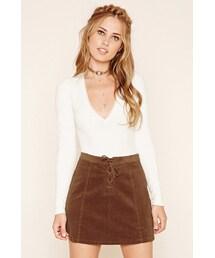 Forever 21「FOREVER 21 Corduroy Lace-Up Mini Skirt(Skirt)」