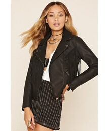 Forever 21「FOREVER 21 Faux Leather Fringe Moto Jacket(Riders jacket)」