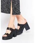 Miista | Miista Rachel Chunky Heeled Leather Mules(Sandals)