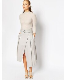 Asos「ASOS Midi Skirt In Leather Look With Wrap Detail(Skirt)」