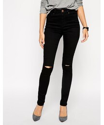 Asos「ASOS Ridley Skinny Jeans in Clean Black with Ripped Knees(Denim pants)」