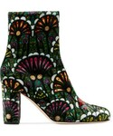 Brian Atwood「Brian Atwood - Talise Printed Velvet Ankle Boots - Emerald(Boots)」