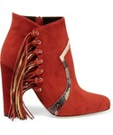 Brian Atwood「Brian Atwood - Harlow Fringed Elaphe-trimmed Suede Ankle Boots - Brick(Boots)」