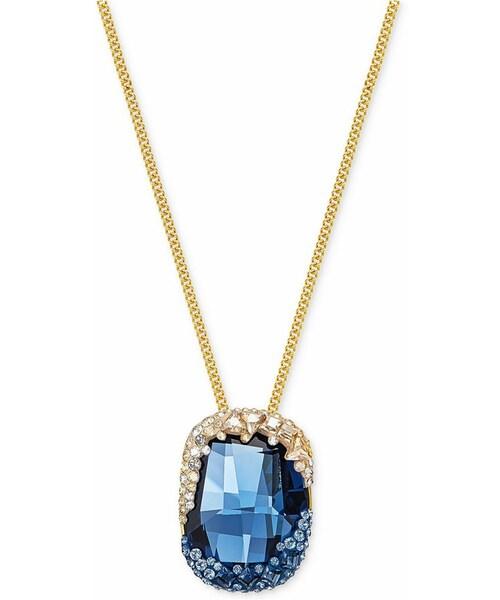 Swarovskiswarovski gold tone large blue swarovski gold tone large blue crystal and pav pendant necklace mozeypictures Choice Image
