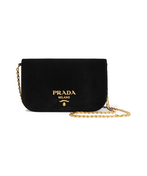99cd2a4c610b ... coupon for pradaprada wallet on a chain velvet shoulder bag black wear  b9638 a6b94