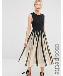 Asos「ASOS Petite ASOS PETITE Mesh Fit And Flare Midi Dress(One piece dress)」