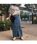 copine | 10ozフロントボタンデニムロングスカート(デニムスカート)