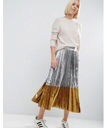 Asos「ASOS Pleated Midi Skirt in Metallic with Contrast Hem(Skirt)」