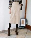 DHOLIC | リングポイントコーデュロイスリットミモレスカート(スカート)