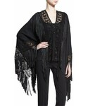 Ralph Lauren「Ralph Lauren Collection Fringed Macrame Poncho Top, Black(Shirts)」