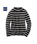 GU | (GU)ミニハイネックセーター(ボーダー・9分袖)(WOMEN⁄ニット)