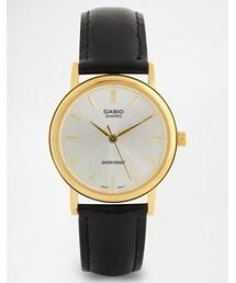 Casio「Casio Black Leather Strap Watch MTP1095Q-7A(Watch)」