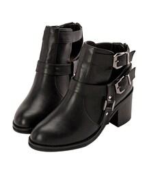 GraceGift(グレースギフト)の「側邊鏤空設計皮革短靴(シューズ)」
