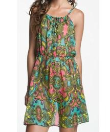 Ondademar「SHEER PRINTED SHORT DRESS(One piece dress)」