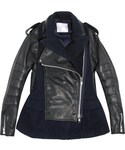 Sacai | Sacai Wool-blend and leather biker jacket(ライダースジャケット)