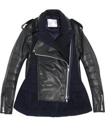 Sacai「Sacai Wool-blend and leather biker jacket(Riders jacket)」