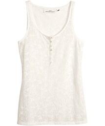 H&M「H&M - Tank Top with Burnout Pattern - White - Ladies(Shirts)」