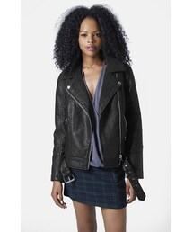Topshop「Topshop 'Ronnie' Faux Leather Biker Jacket(Riders jacket)」