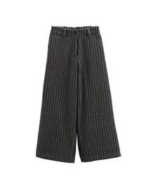 GraceGift「歐美名模 韓國條紋毛料寬褲(Pants)」