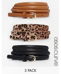 Asos「ASOS Curve ASOS CURVE Leopard Hip and Waist Belt in 3 Pack - Multi(Belt)」