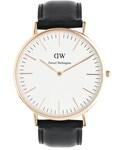 Daniel Wellington | Daniel Wellington Sheffield Rose Gold Black Leather Strap Watch - Black(腕時計)