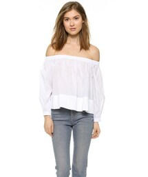 Cynthia Rowley「Cynthia Rowley Cotton Peasant Crop Top(T Shirts)」
