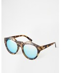 Le Specs | Le Specs Neo Noir Mirrored Sunglasses - Brown tort/blue mirr(Sunglasses)