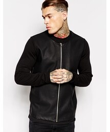 Asos「ASOS Bomber with Leather Look Front - Black(Riders jacket)」